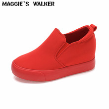 Maggie's Walker Women Height-increasing Fashion Candy-Colored  Casual Canvas Shoes Platform Muffin Thick Loafers  Size 35~39