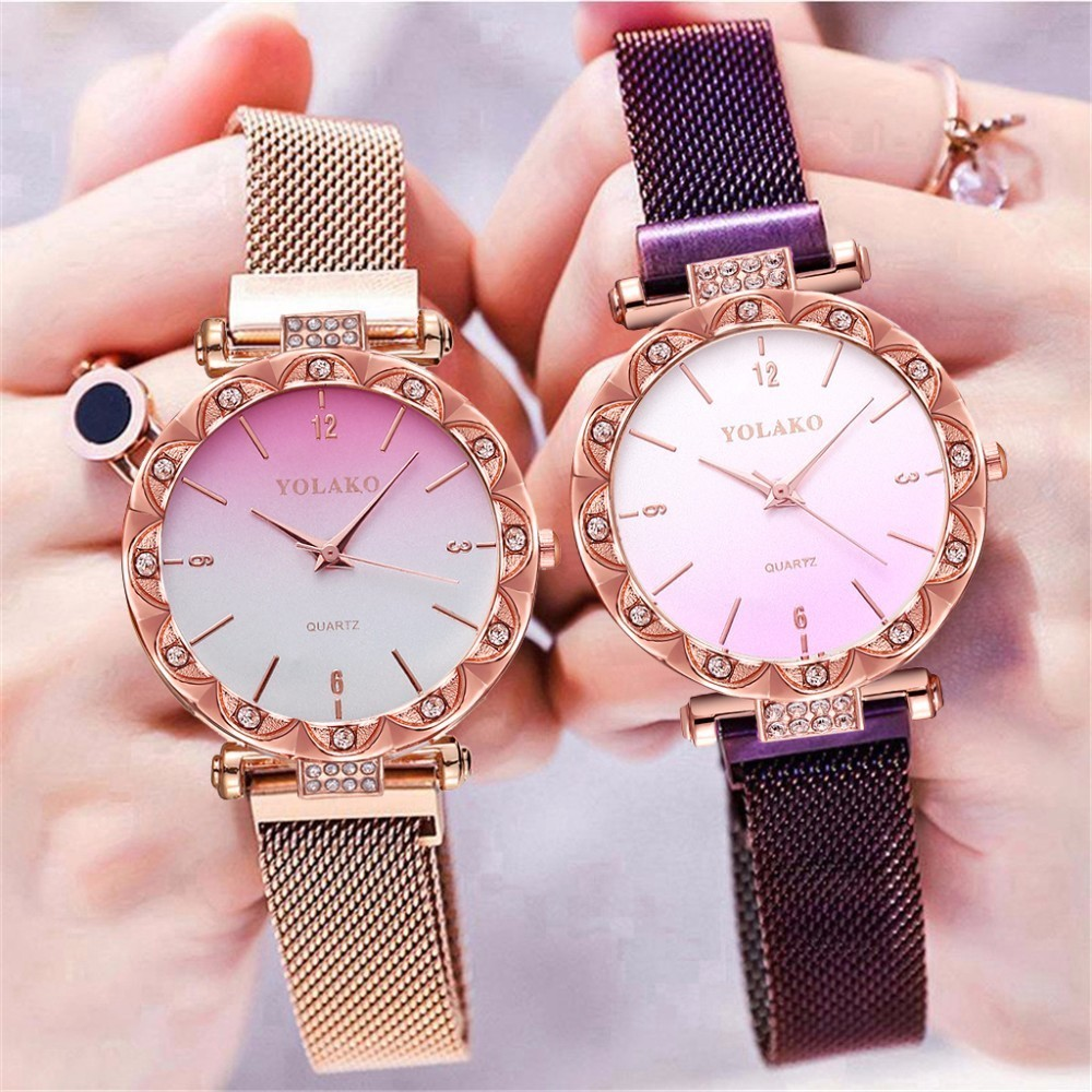 Women Magnet Buckle Gradient Color Watch Luxury Ladies Stainless Steel YOLAKO Brand Quartz Clock Relogio Feminino Dropshipping