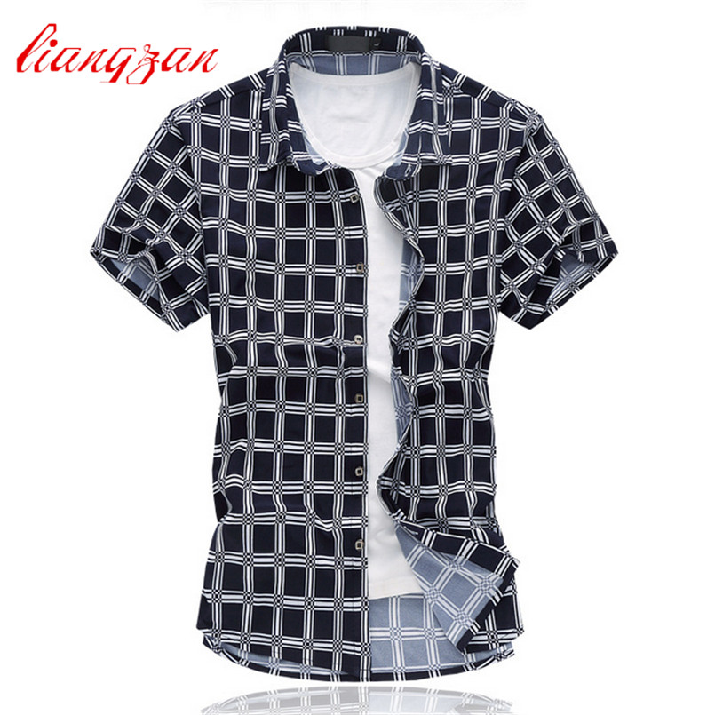 Men Printed Plaid Dress Shirts Brand Summer Short Sleeve Plus Size 5XL 6XL Slim Fit Casual Social Cotton Shirts F2188
