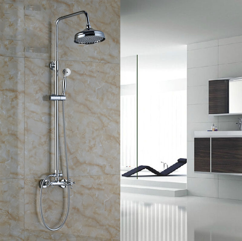 Luxury Brass Chrome Finish Shower Set Wall Mount Bath Rainfall ...