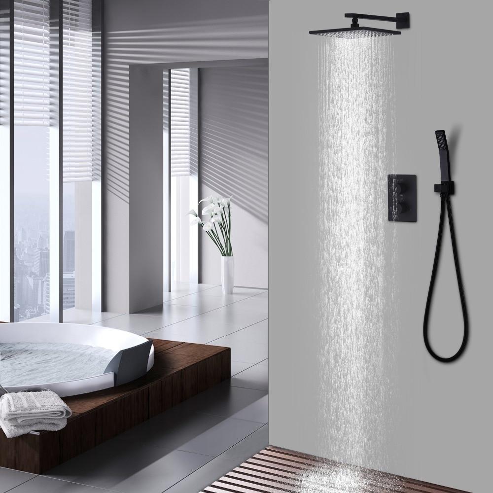 Latón 10 pulgadas baño overhead ducha superficie de la pintura negro ...