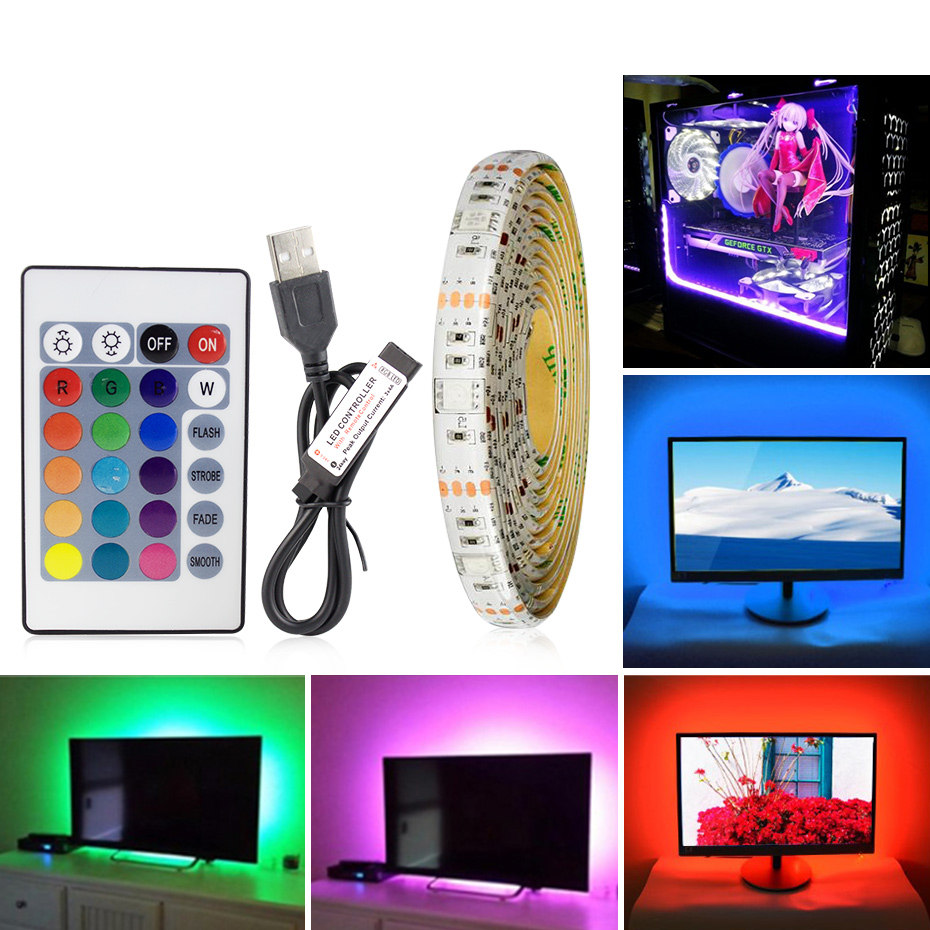 SMD2835 RGB LED Strip Waterproof DC5V USB LED Strips Light Flexible Led Ribbon Diode Tape With Remote Control For TV Backlight