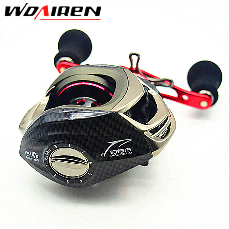 2017 New 12+1 BB Bait Cast Baitcasting Jig Left Right Hand Fishing Reel Feeder Carp Gear Sea Spool Peche Wheel DDL-01