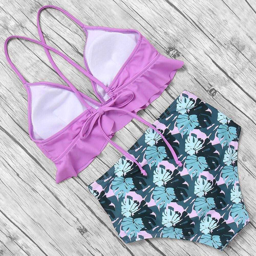 HTB1QeakKCzqK1RjSZFHq6z3CpXaU Print Sexy Bikini 2019 Mujer Plus Size Swimwear Women Halter High Waist Bikini Push Up Swimsuit Female Maillot De Bain Femme