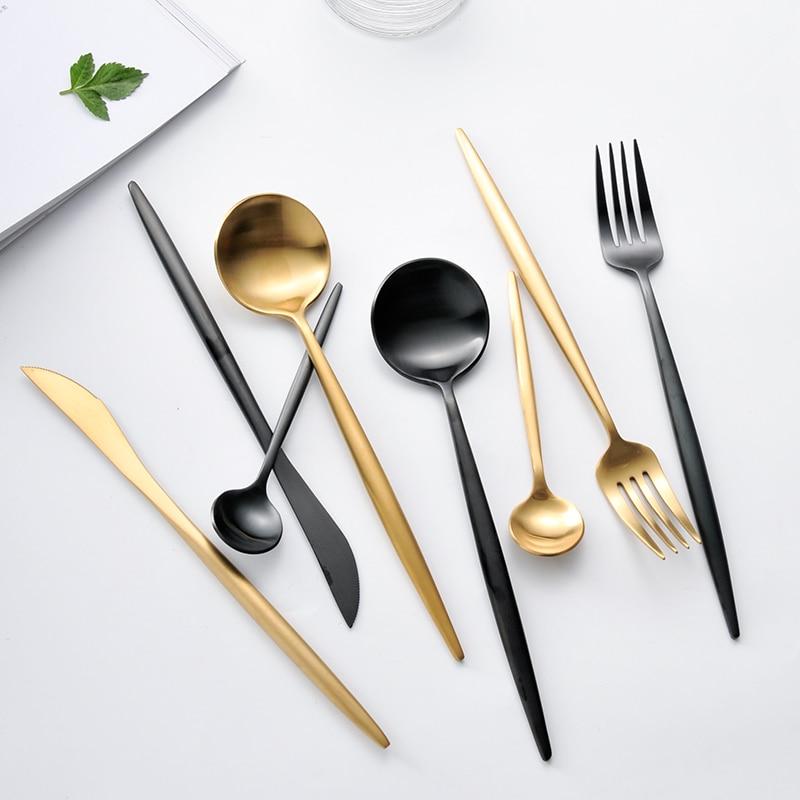 KuBac 4 Stks Golden / Zwart / Zilver Topkwaliteit Rvs Bestek Steak Mes Vork Party Servies Gouden Bestekset Servies