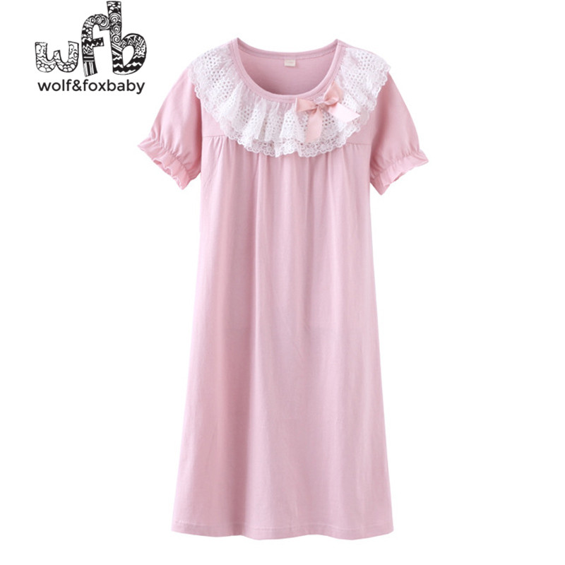 цена на Retail 4-16 years cotton short-sleeved nightdress lace pajamas home service spring fall autumn