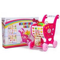 집 어린이 카트 장난감 슈퍼마켓 트롤리 시뮬레이션 교육 장난감 과일 및 야채 세트