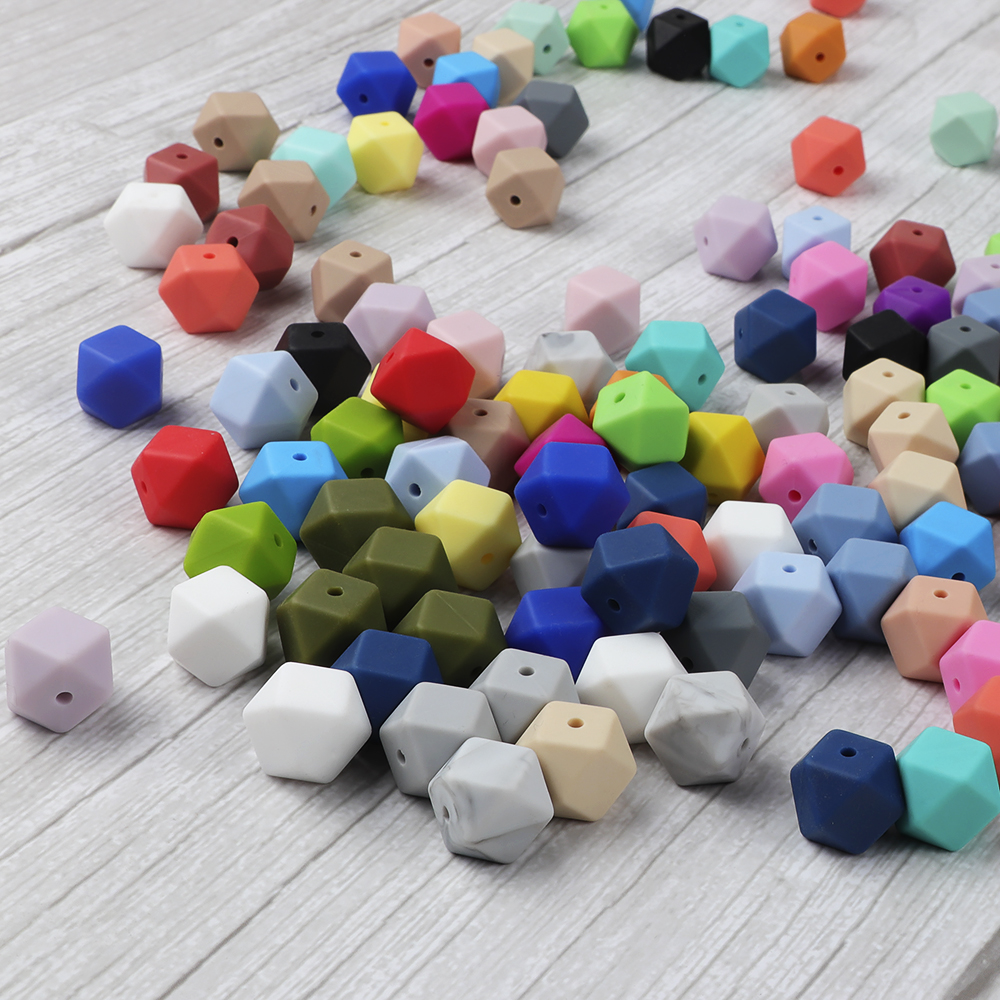 DIY Teether Beads Hexagon Beads 14mm  Chew Jewelry Making Accessories Pacifier Clips Silicone Teething Beads  2pc