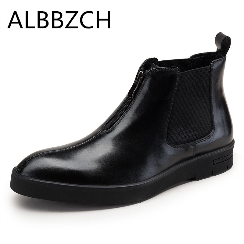 New chelsea genuine leather men boots round toe zip male mens ankle boots fashion trend high grade office work flat boots botasNew chelsea genuine leather men boots round toe zip male mens ankle boots fashion trend high grade office work flat boots botas