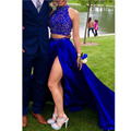 Sexy High Neck Two Pieces Long Prom Dress 2017 Blue Evening Dress Side Slit Colorful Beading Crystal Luxury Party Gown Graduatin