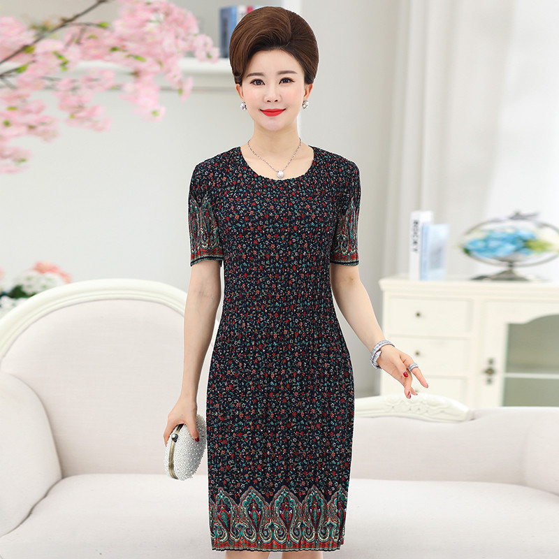 10c7276e30a Women s Summer Dress Mother 40 50 Years Old Plus Size Middle aged Printing XL  5XL Large Size Loose Dresses-in Dresses from Women s Clothing on ...