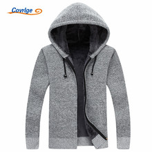 Covrlge Men Wool Sweaters Solid Male Cardigan 2019 Fashion Mens Winter Clothing Plus Velvet Thickening Hooded Sweater MZM018
