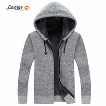 Covrlge Men Wool Sweaters Solid Male Cardigan 2019 Fashion Mens Winter Clothing Plus Velvet Thickening Hooded Sweater MZM018(China)