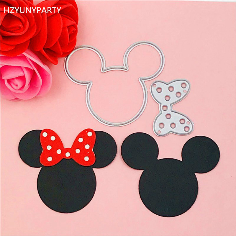 Mickey And Minne Bow Ear Cutting Dies Stencils For DIY Scrapbooking/photo Album Decorative Embossing DIY Paper Cards