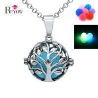Glow In The Dark Antique Silver Tree Of Life Locket Pendant Chain Necklace Aromatherapy Essential Oil