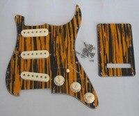 Страт накладку Черный/Желтый плетеная w/в возрасте Белый Пикап Чехлы для мангала, ручки, переключатель Совет