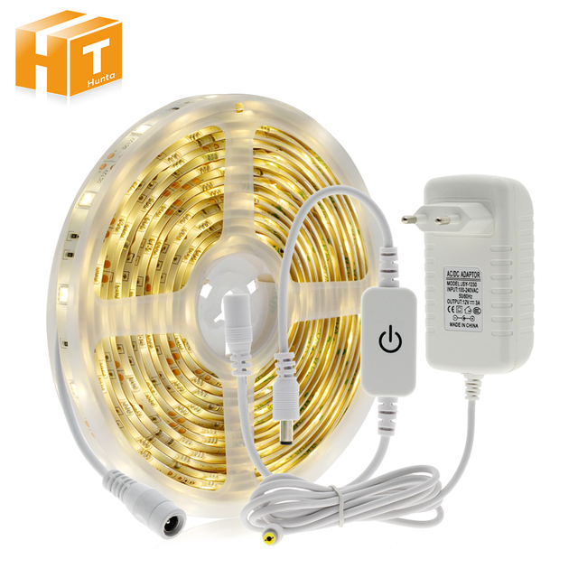 Touch Dimming LED Strip 5050 Waterproof 30LEDs/m Warm White  + Touch Dimmer Bedroom Night Light.