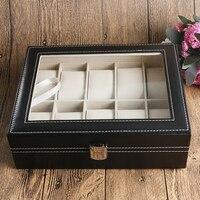 תצוגת אופנה מקרה ארגונית תיבת שעון עור שחור קלאסי קופסות מתנה באיכות גבוהה משטח קצף caja de reloj