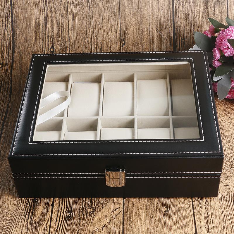 Prix pour Vitrine de la mode Organisateur Classique Noir Boîte En Cuir Pour Montre Mousse Pad Haute Qualité Cadeau Boîtes caja de reloj