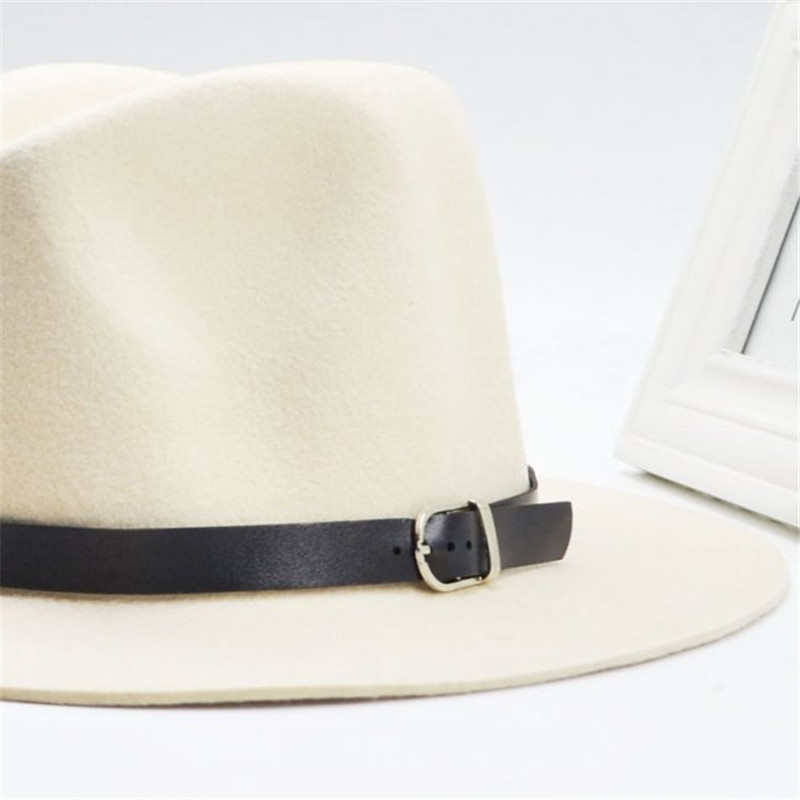 bf28cf606c5ca4 2017 Fashionable New Vintage Women Men Fedora Felt Hat Lady's Floppy Wide  Brim Wool Felt Cloche Hat Leather Belt Decoration-in Men's Fedoras from  Apparel ...