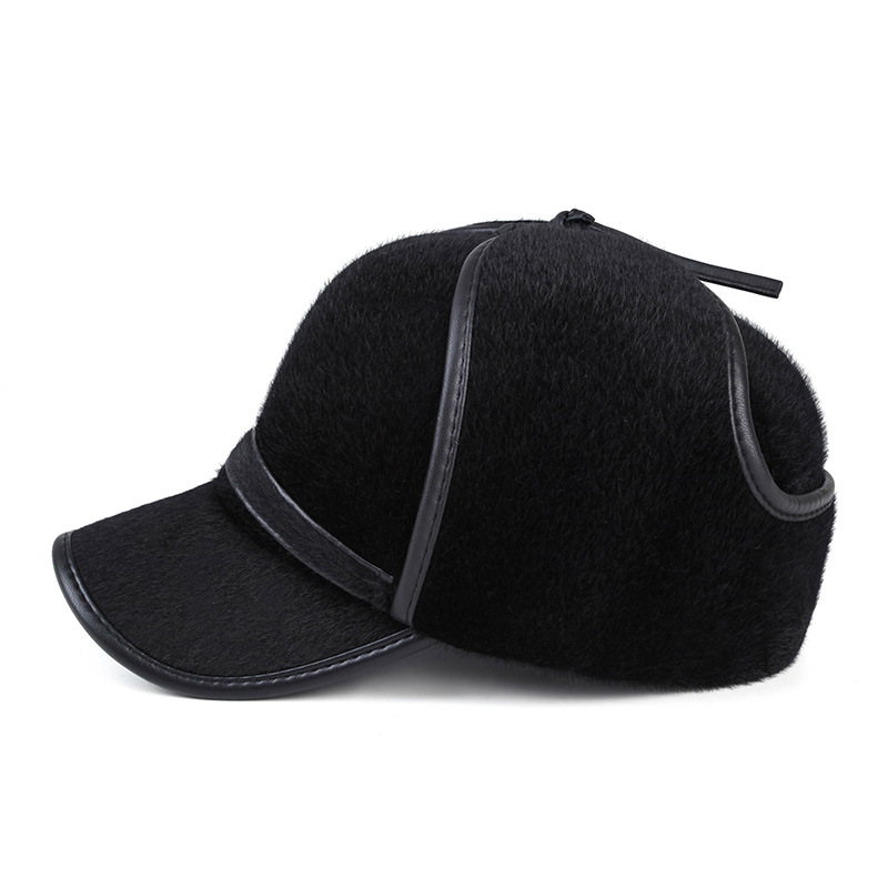 winter baseball cap for men with ear flaps keep warm sea lion fur bone wool hat