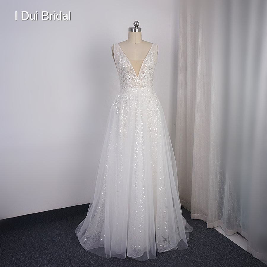 Sequin Shinny Wedding Dress Boho Bridal Gown Factory Real Photo