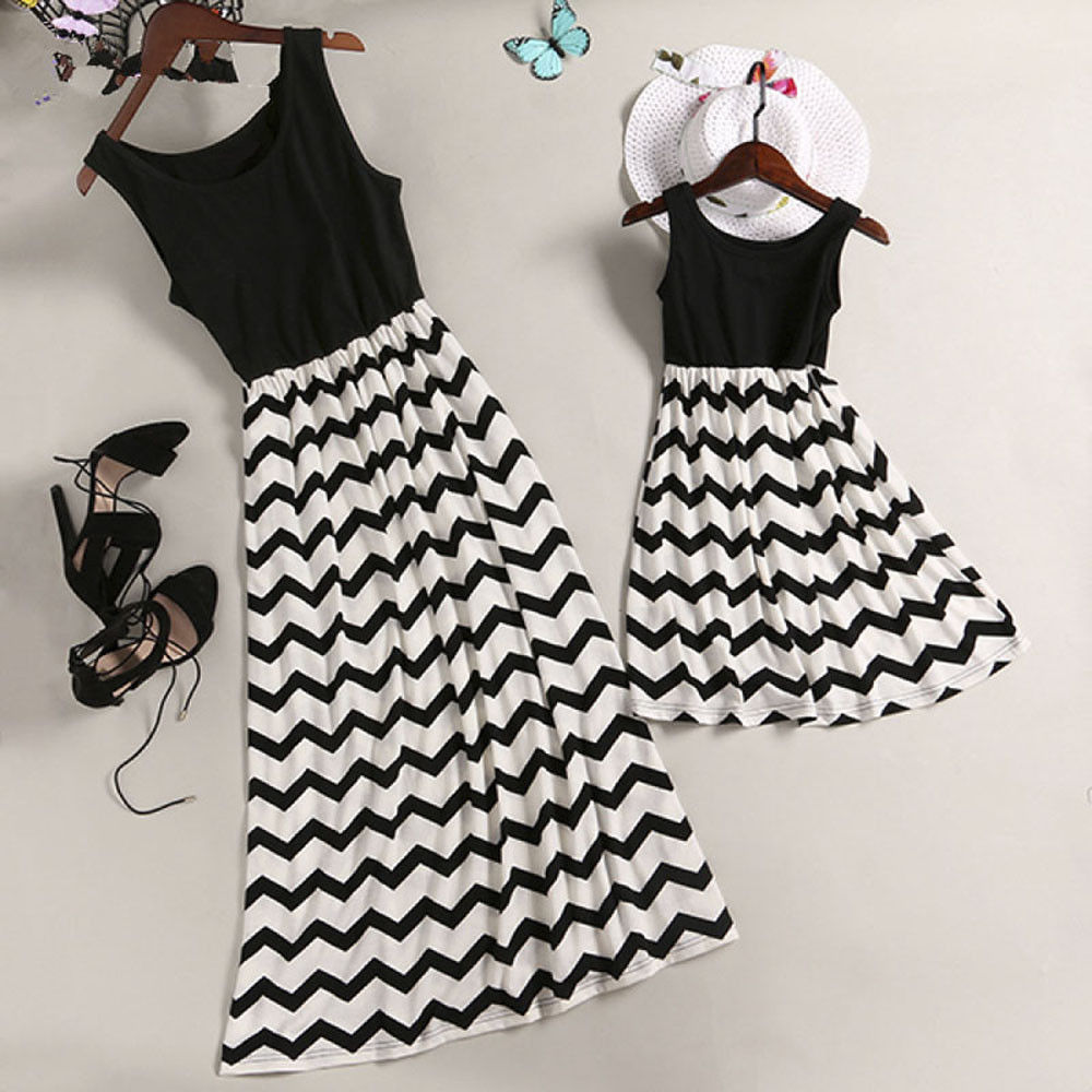 Hot Mother Daughter Matching Dress Family Outfit Summer Women Girl Kids Party Sleeveless Striped Dresses Sundress Clothes(China)