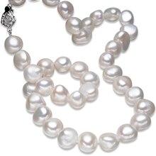 FEIGE Joyería Fina de Estilo Barroco 10-11mm Blanco Natural de Agua Dulce Perla Cultivada Collares Del Ahogador para Las Mujeres de Joyería de Perlas Colar