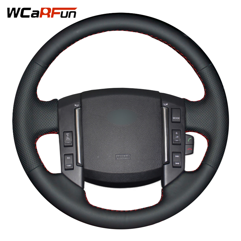 WCaRFun Black Artificial Leather Car Steering Wheel Cover for Land Rover Freelander 2 2007 2008 2009 2010 2011 2012