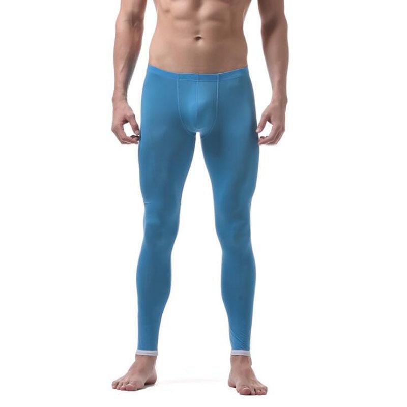 KWAN.Z thermal underwear for men underpants slim ice silk bottom underwear men autumn home pants men's thermal underwear thermo