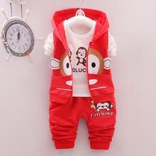 Fashion Autumn Kids 3piece Suits Cotton Sets Long Sleeve T Shirt +Hoodies Vest + Long Sleeve Pants Children Clothes