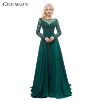 CEEWHY Luxury Mermaid Evening Dresses Emeradald Green Long Sleeves Evening Dress Beading Crystal Evening Gown Vestido Largos