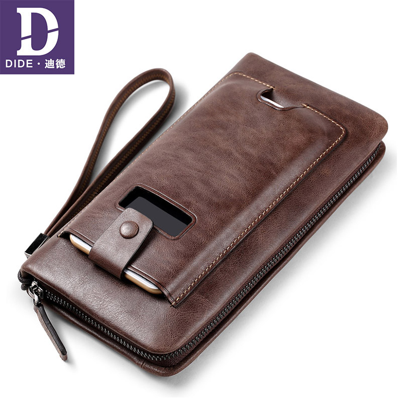 DIDE Genuine Leather Wallet Business Banquet Day Clutch Bag Men, Passport Case Bag, Designer Cowhide Wallet Purse coin Male new oil wax leather men s wallet long retro business cowhide wallet zipper hand bag 2016 high quality purse clutch bag