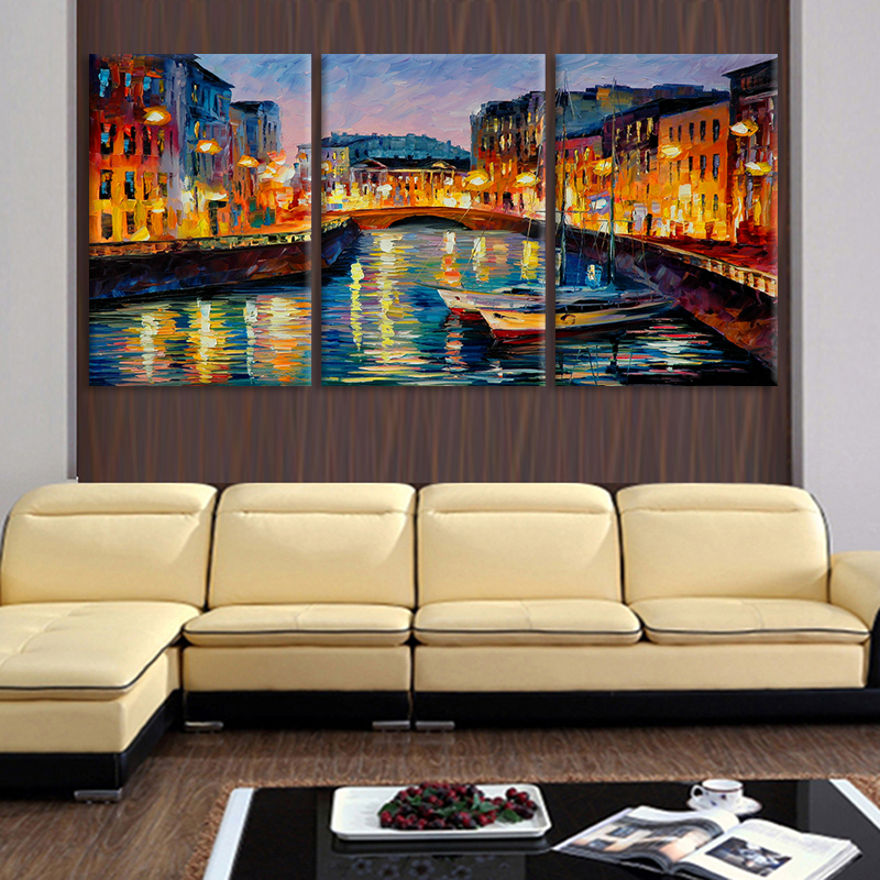 3 Panel Modern Abstract Painting Canvas Venice lake Home Decor For ...