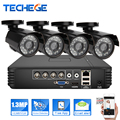 Techege 4CH 720P AHD-M DVR w 1.3MP Low Illumination AHD Camera 1500tvl  IR Waterproof Night Vision IR Security Camera system