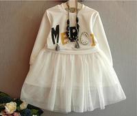2018 girls long sleeved princess dress coat net veil tutu dress 2pcs set Girls Dress