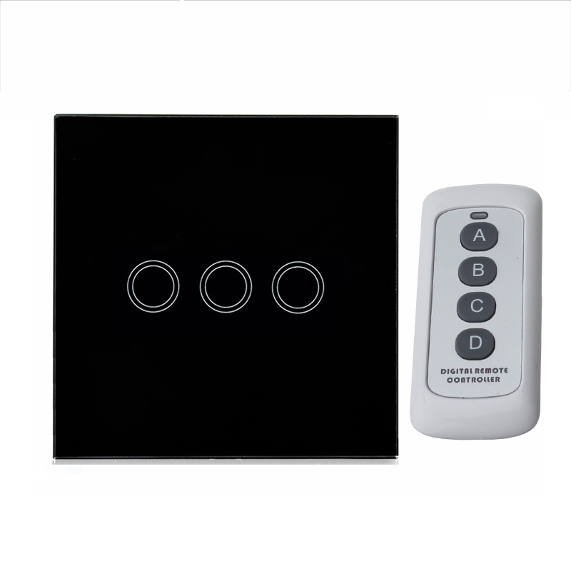 Smart Home EU US  Standard Black Remote Switch Wireless Remote Control Light Touch Switch LED Crystal Glass Panel 3 Gang 1 Way us standard 1gang 1way remote control light touch switch with tempered glass panel 110 240v for smart home hospital switches