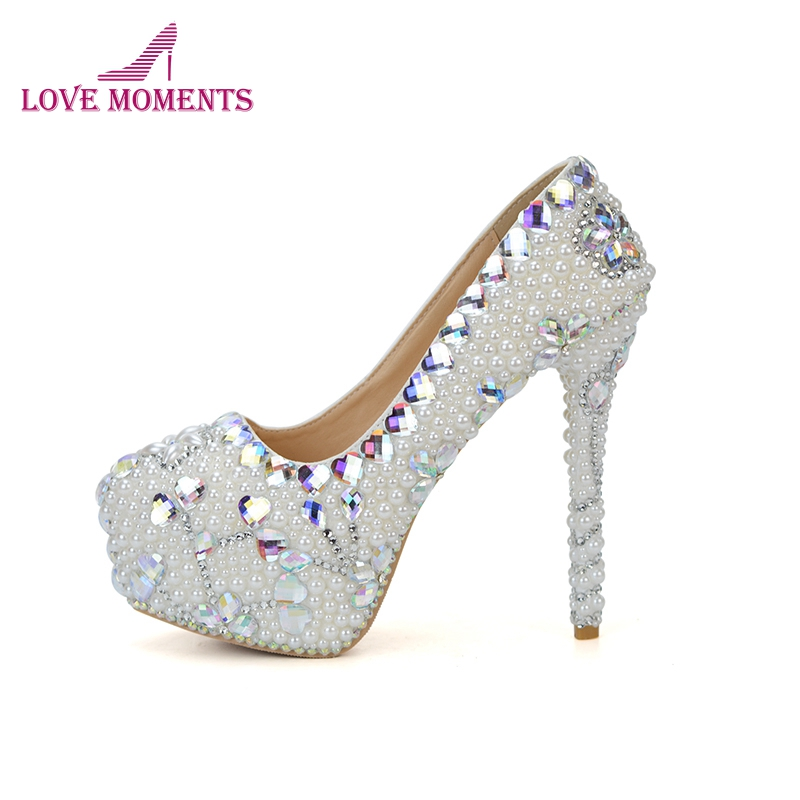 AB Crystal Rhinestone Bridal Wedding Shoes White Pearl Bride Wedding Ceremony Formal Dress Shoes High Heel Party Prom Pumps pure white pearl wedding dress shoes gorgeous red rhinestone heart shape women pumps 3 inches high heel bride shoes event pumps