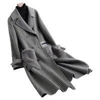 Женское меховое пальто из норки с карманами из натуральной шерсти, осенне зимняя женская меховая теплая верхняя одежда, пальто LF5141