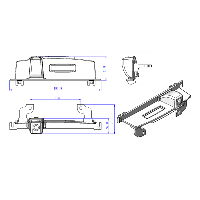 191.8*51.8*61.8mm SIZE For Nissan Tiida camera CCD Car
