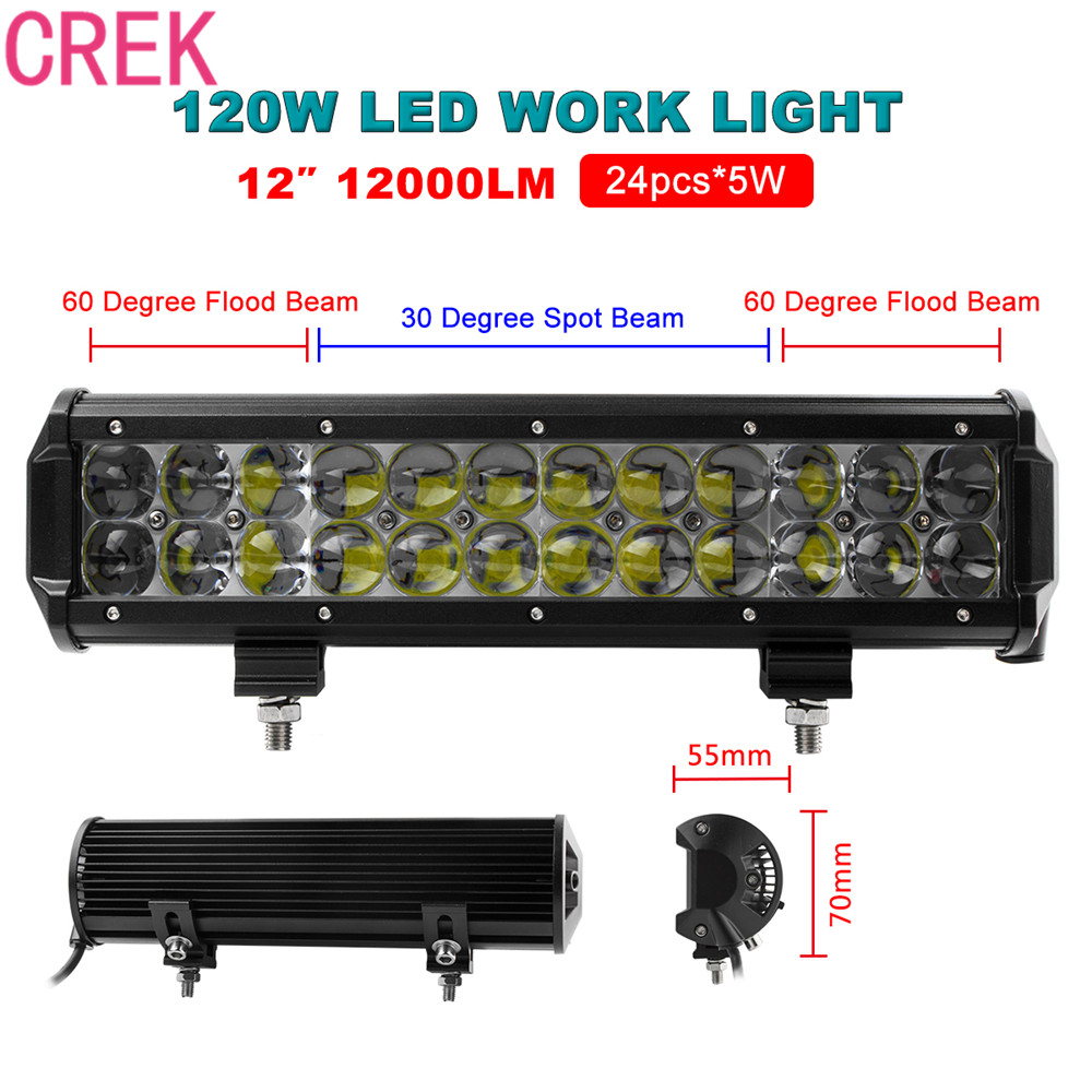 CREK 12Inch 120W Car LED Flood/Spot Combo Work Light Bar Offroad Driving Lamp For Truck ATV Off Road Fog Lamp guleek combo 120w 8400lm 40 led white light offroad car light bar working lamp 12 24v