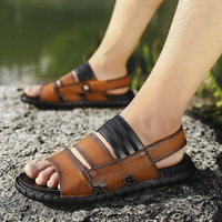 2019 New Hot Summer Male Sandals Men Leather Shoes Slippers Casual Sandal Brand Beach Flat Shoes for Man Size 38 44