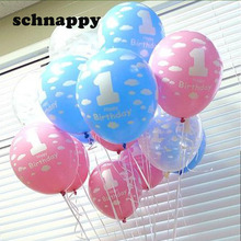 20Pcs/lot Balloons for Baby 1st First Birthday Celebration Girl Boy Printed Number 1 Children Birthday balloon toys