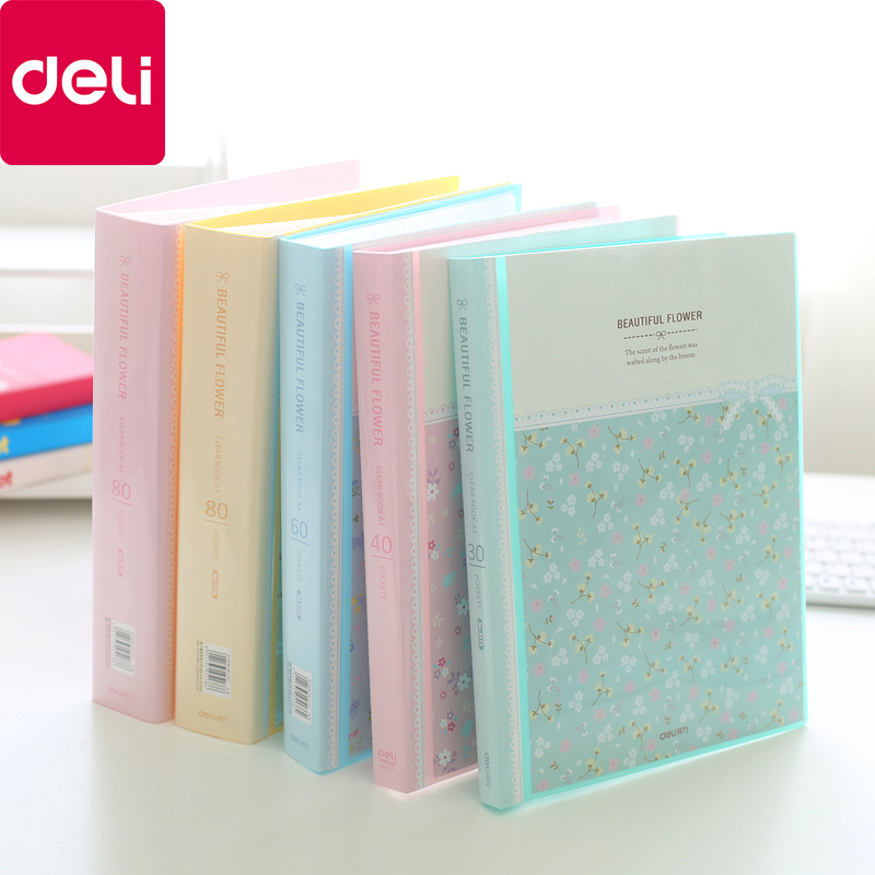Deli Fresh Flower Paper File Holders A4 Document Holder Paper Folder Storage Binder Pouch Package Office School 30/40/60/80pages(China)