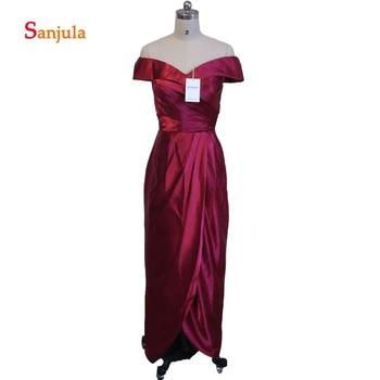 Off the Shoulder A-Line Satin Bridesmaid Dresses 2020 Leg Slit Wedding Party Dress for Women Pleat Simple Prom Dresses D54