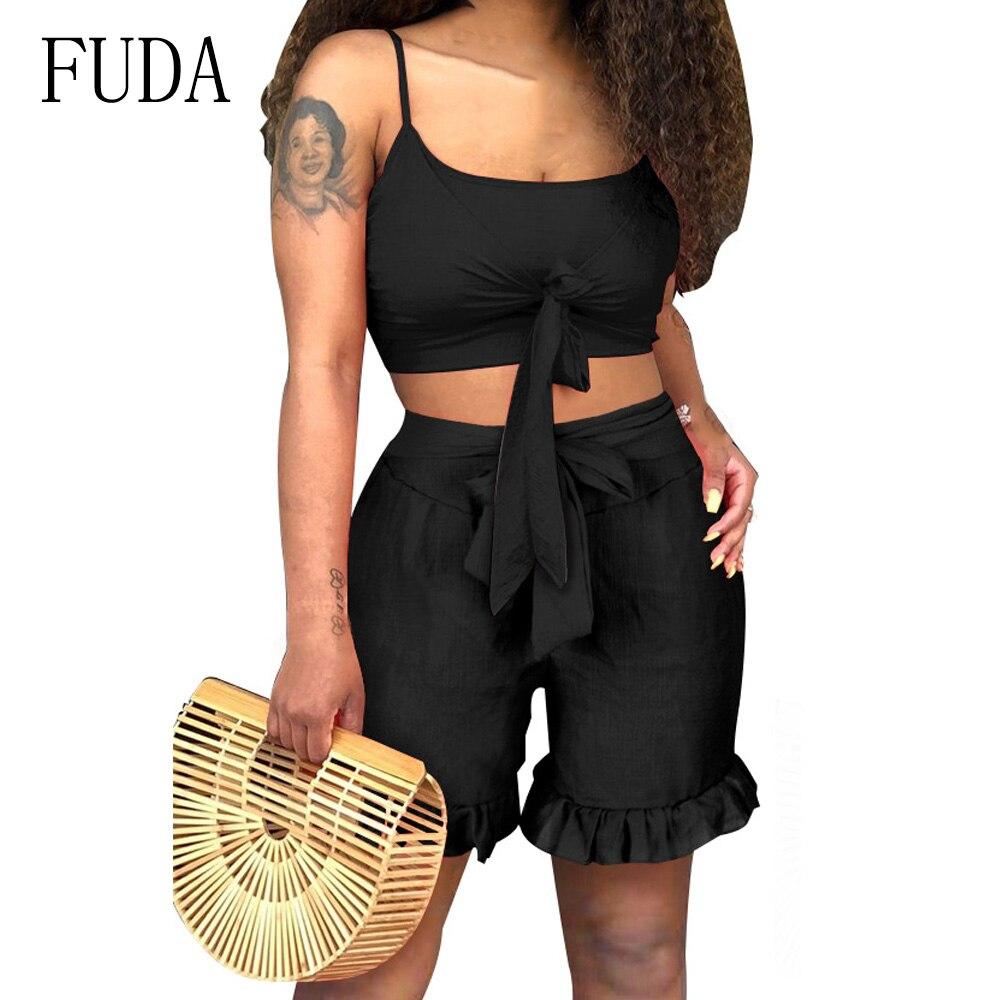 FUDA Sexy Sleeveless Spaghetti Strap Two Pieces Set Short Rompers Elegant Ruffle Bandage Summer Playsuits Lady Casual Bodysuits