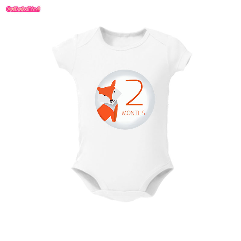 Happy Animal Baby Clothes Per Month of Your Babys First Year Growth and Holidays Boy or Girl. Milestone One Baby Bodysuit