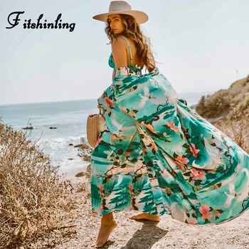 Fitshinling Print floral long cardigan swimwear boho flare sleeve  sashes summer beach cover up swimwear holiday big size output