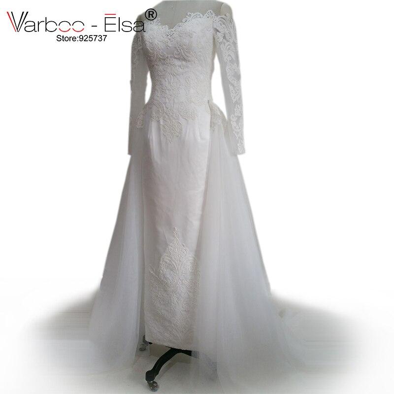 Varboo elsa vestidos de noiva 2017 lace applique for Removable tulle skirt wedding dress