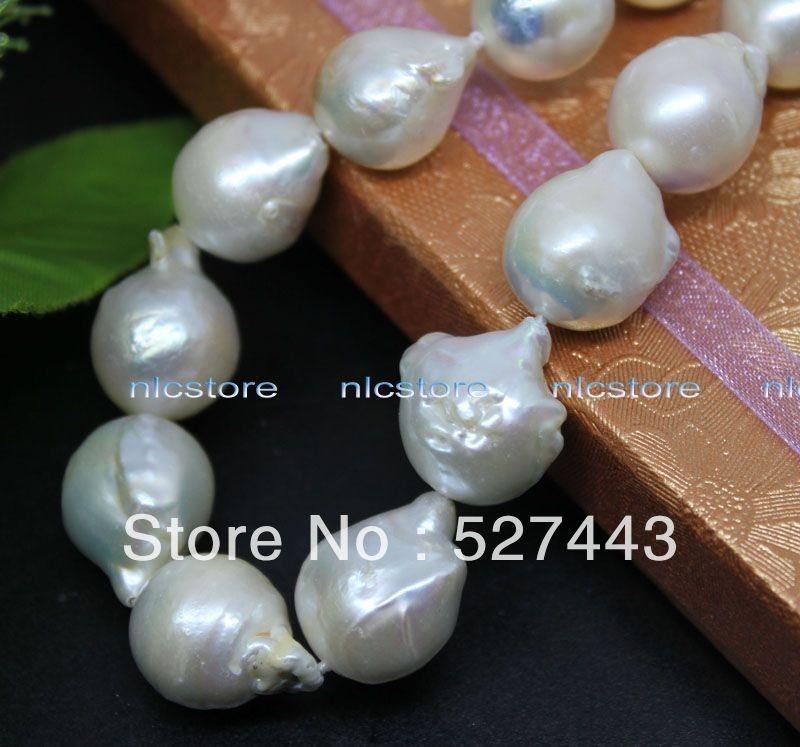 En gros rapide unique fermoir en argent grand Keshi reborn perle baroque collier gem pierre de mode (A0513)
